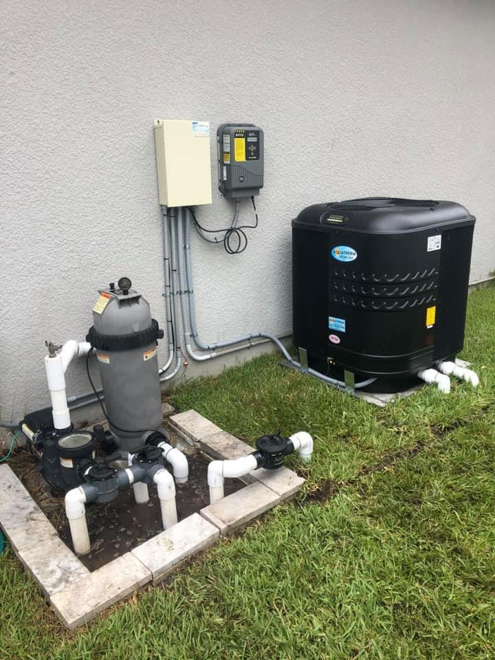 Aquatherm Heat Pump system installed with pavers