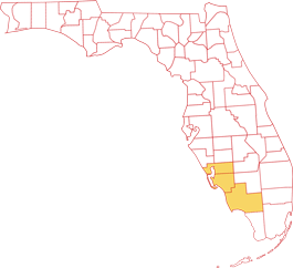 Collier, Lee and Charlotte County highlighted on Florida map