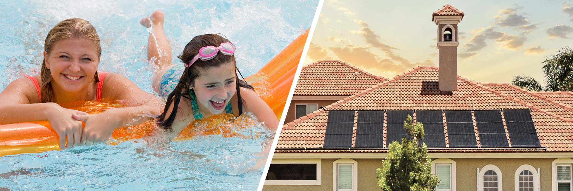 two photos - one of a mother and daughter swimming in a pool, and the other of a beautiful Florida home with a solar pool heating system